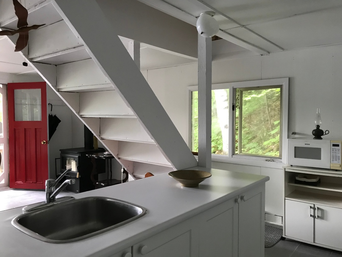 bright kitchen looks out doors from two sides