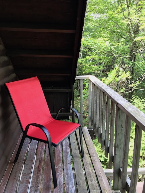 red chair on upper balcony